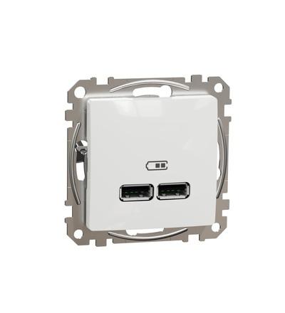 SDD111401 Dvojitá USB A+A nabíječka 2.1A, Bílá, Schneider electric