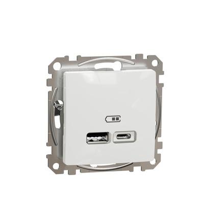 SDD111402 Dvojitá USB A+C nabíječka 2.4A, Bílá, Schneider electric