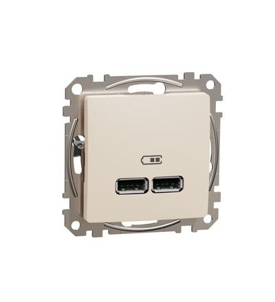 SDD112401 Dvojitá USB A+A nabíječka 2.1A, Béžová, Schneider electric