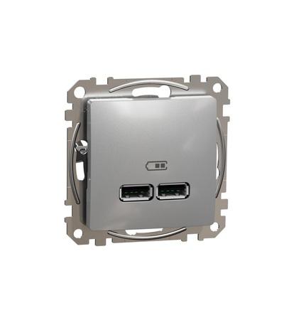 SDD113401 Dvojitá USB A+A nabíječka 2.1A, Aluminium, Schneider electric