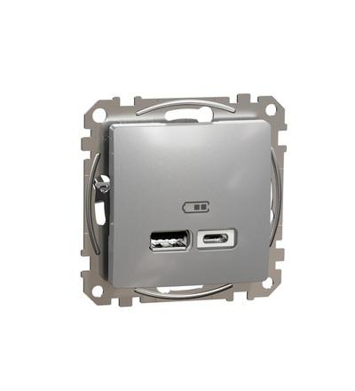 SDD113402 Dvojitá USB A+C nabíječka 2.4A, Aluminium, Schneider electric