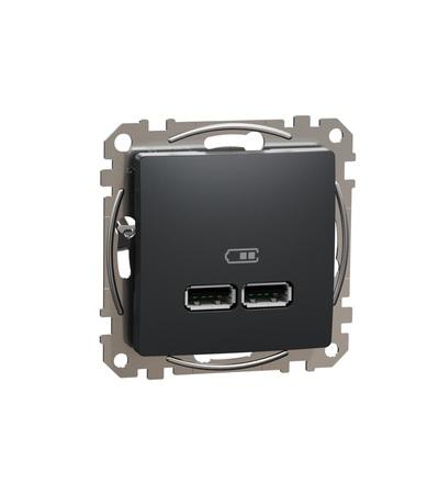 SDD114401 Dvojitá USB A+A nabíječka 2.1A, Antracit, Schneider electric
