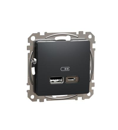 SDD114402 Dvojitá USB A+C nabíječka 2.4A, Antracit, Schneider electric