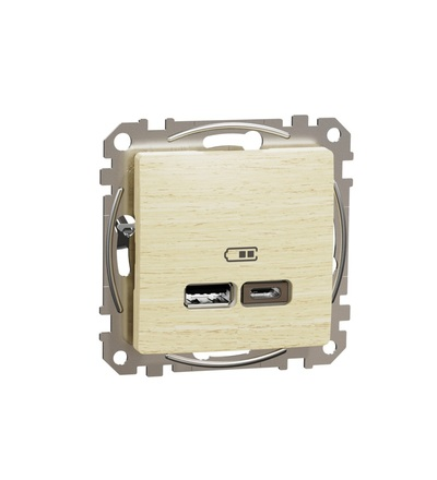 SDD180402 Dvojitá USB A+C nabíječka 2.4A, Bříza, Schneider electric