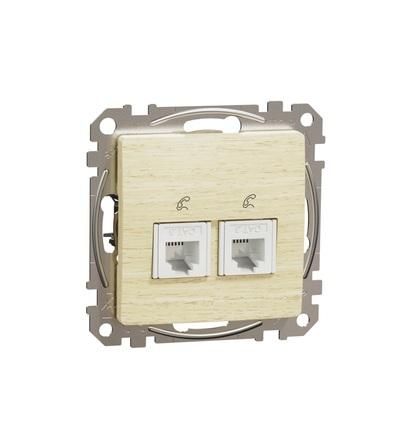 SDD180492 Telefonní zásuvka 2xRJ11, Bříza, Schneider electric