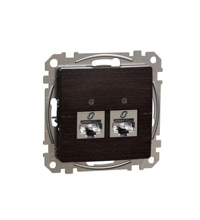 SDD181462S Datová zásuvka 2xRJ45 kat. 6 STP, Wenge, Schneider electric