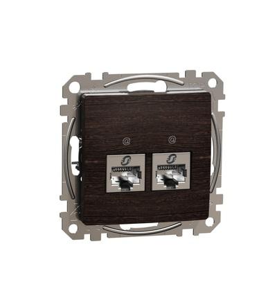 SDD181467S Datová zásuvka 2xRJ45 kat. 6A STP, Wenge, Schneider electric