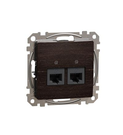 SDD181467 Datová zásuvka 2xRJ45 kat. 6A UTP, Wenge, Schneider electric