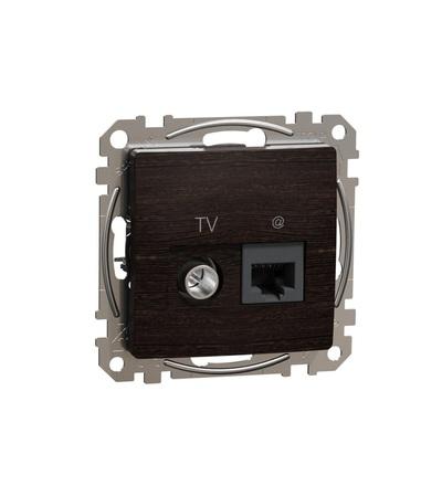 SDD181469T Datová zásuvka RJ45 kat.6 UTP+TV individuální, Wenge, Schneider electric