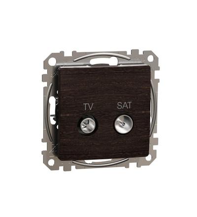 SDD181474S TV SAT zásuvka průběžná 7dB, Wenge, Schneider electric