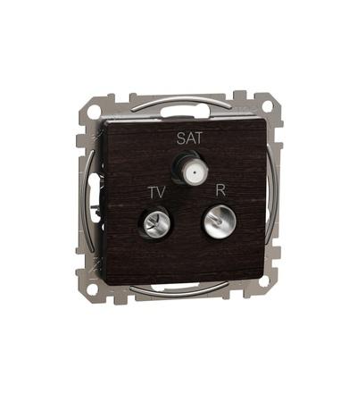 SDD181484 TV-R-SAT zásuvka průběžná 7dB, Wenge, Schneider electric