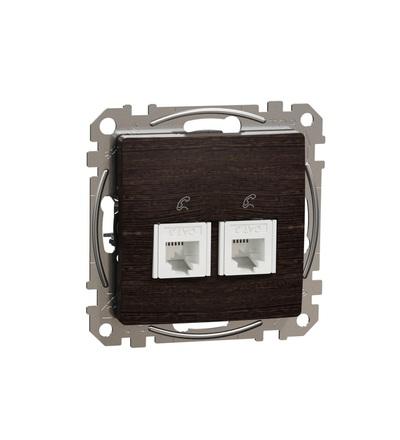 SDD181492 Telefonní zásuvka 2xRJ11, Wenge, Schneider electric