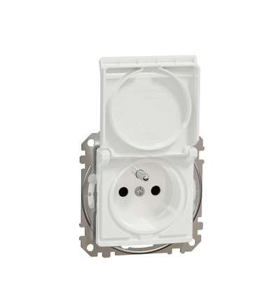 SDD211014 Zásuvka 230V 16A IP44 bezšroubová, Bílá, Schneider electric