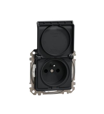 SDD214014 Zásuvka 230V 16A IP44 bezšroubová, Antracit, Schneider electric