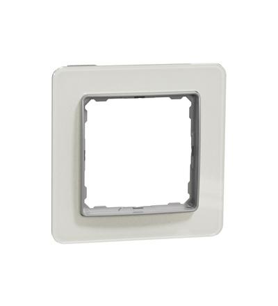 SDD360801 Rámeček jednonásobný, Bílé Sklo, Schneider electric