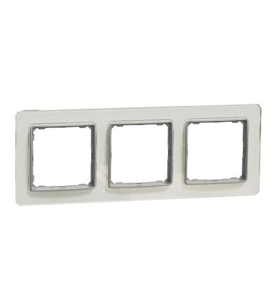 SDD360803 Rámeček trojnásobný, Bílé Sklo, Schneider electric