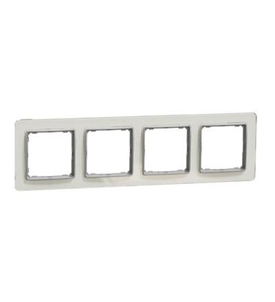 SDD360804 Rámeček čtyřnásobný, Bílé Sklo, Schneider electric