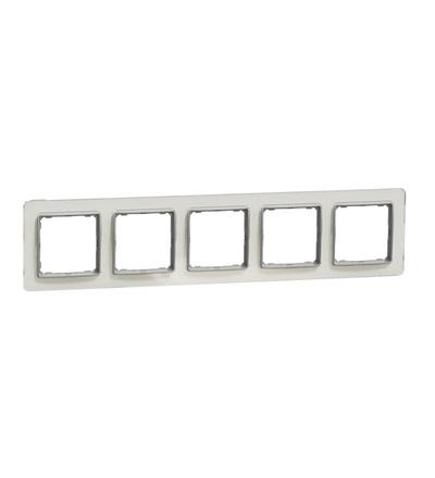 SDD360805 Rámeček pětinásobný, Bílé Sklo, Schneider electric