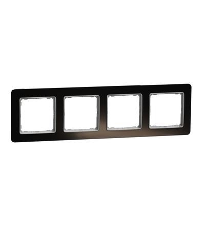 SDD361804 Rámeček čtyřnásobný, Tmavé Sklo, Schneider electric