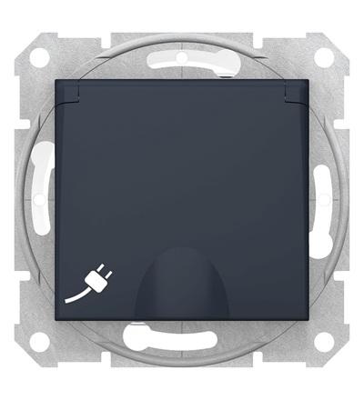SDN3100570 Zásuvka Schuko 2P+PE IP44 bezšroubová dětské clonky, graphite, Schneider Electric