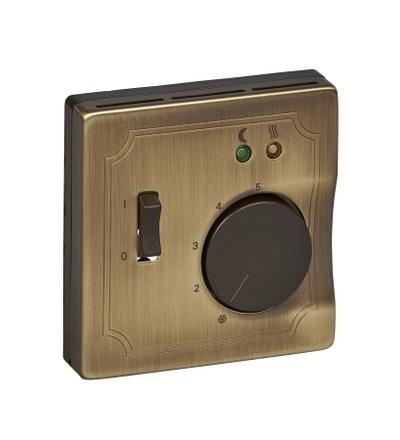 MTN537543 Centrální deska pro mechanismus podlažního termostatu se spínačem, S-Design, antique brass, Schneider Electric