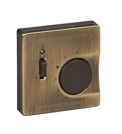 MTN539743 Centrální deska pro mechanismus ovládání teploty místnosti se spínačem, S-Design, antique brass, Schneider Electric