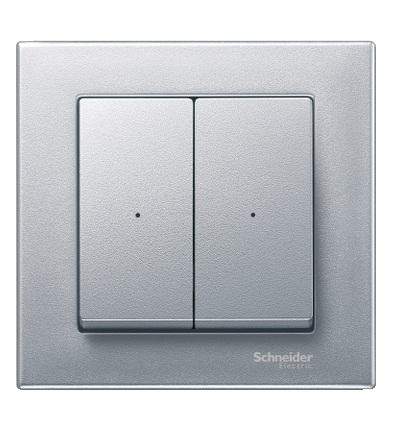MTN625260 Kryty pro 2-násobný tlač. modul, Aluminium, System M, Schneider Electric