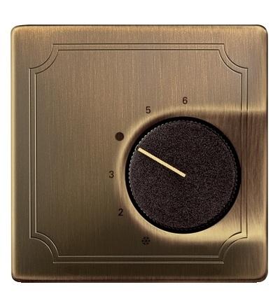 MTN537443 Centrální deska pro mechanismus ovládání teploty místnosti s přepínacím kontaktem, S-Design, antique brass, Schneider Electric