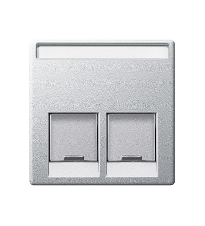 MTN466560 Centrální deska pro dvojnásobný mechanizmus datové zásuvky, System M, alu, Schneider Electric