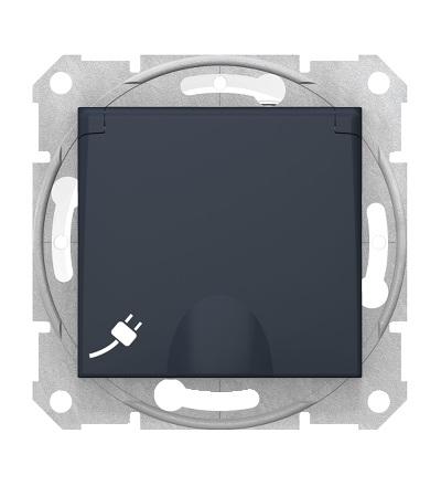 SDN2800870 Zásuvka 2P+PE IP44 bezšroubová dětské clonky, graphite, Schneider Electric