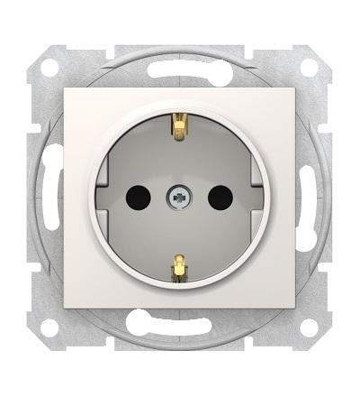 SDN3001723 Zásuvka schuko 2P+PE s dětsk. clonkami bezšroubová, cream, Schneider Electric
