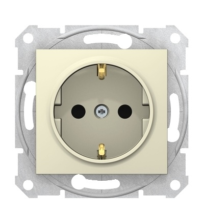 SDN3001747 Zásuvka schuko 2P+PE s dětsk. clonkami bezšroubová, beige, Schneider Electric