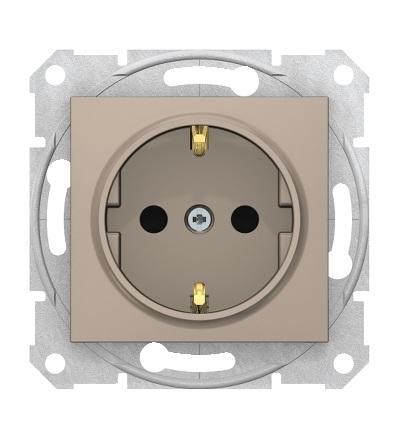 SDN3001768 Zásuvka schuko 2P+PE s dětsk. clonkami bezšroubová, titan, Schneider Electric