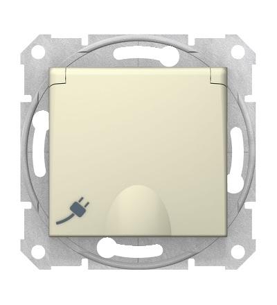 SDN3100447 Zásuvka schuko 2P+PE s krytkou a s dětsk. clonkami bezšroubová, beige, Schneider Electric