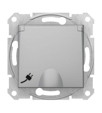 SDN3100460 Zásuvka schuko 2P+PE s krytkou a s dětsk. clonkami bezšroubová, alu, Schneider Electric