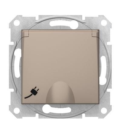 SDN3100468 Zásuvka schuko 2P+PE s krytkou a s dětsk. clonkami bezšroubová, titan, Schneider Electric