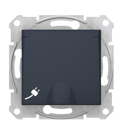 SDN3100470 Zásuvka schuko 2P+PE s krytkou a s dětsk. clonkami bezšroubová, graphite, Schneider Electric