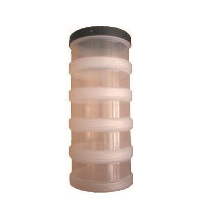 Box plastový, šroubovací s víkem, 5 misek, O 95 x 210 mm 600415