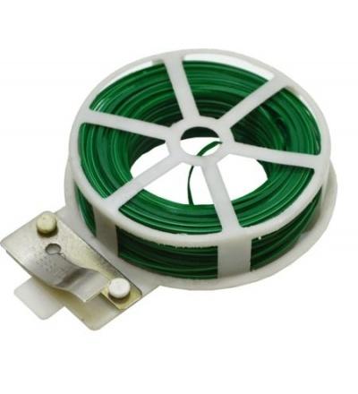Drát ocelový, poplastovaný, zelený, planžetové nůžky v plastovém pouzdře,  0,4 mm x 50 m 307028