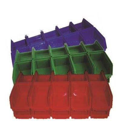 Ekobox červený, štosovací, na spojovací materiál, 20 ks, 150 x 100 mm 600411