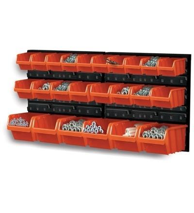 Ekobox plastový, sada 24 boxů, 2 panely, 800 x 195 x 400 mm 600309