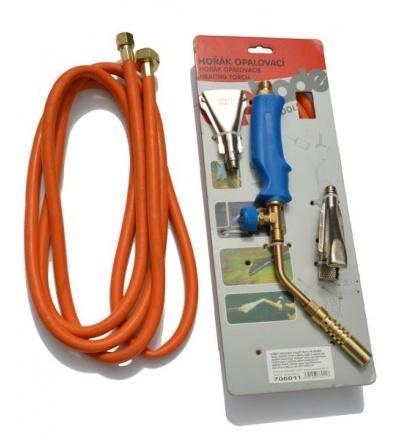 Hořák PB opalovací,hadice 3m,regulátor tlaku,kulatý O12mm,na trubky 15mm,plochý 17mm/380mm 706011