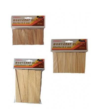 Klínky dřevěné, montážní, balení 20 ks, 65 x 18 x 12 – 0 mm 108104