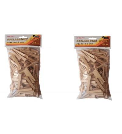 Klínky dřevěné, obkladačské, balení 250 ks, 55 x 8 x 10 – 0 mm 108106