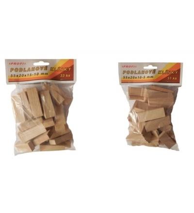 Klínky dřevěné, podlahové, balení 33 ks, 55 x 20 x 15 – 10 mm 108108