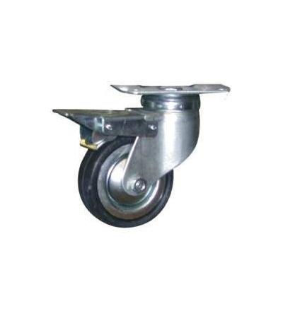 Kolečko otočné, s brzdou, kov, pryž, O 100 mm / 60 kg 705011