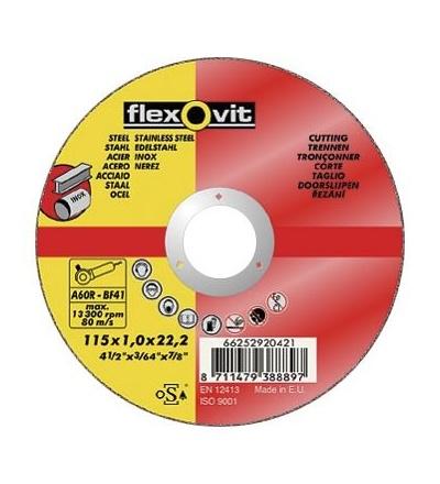 Kotouč Flexovit, na kov a nerez, 115 x 22,23 x 1 mm, profi 501340