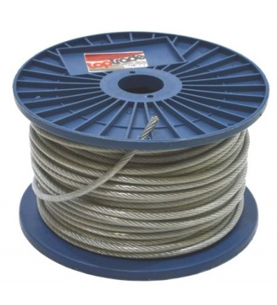 Lano ocelové, pozinkované, v PVC bužírce, na cívce, 7 x 7 drátů, O 4 mm x 75 m 707133