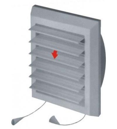 Mřížka větrací,plastová,bílá,hranatá,lamelová se síťkou,175x175/140x140mm,vývod O 100mm 600813