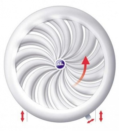 Mřížka větrací,plastová, bílá, kulatá, vějířové žebrování se síťkou, O 135 / 100 mm 600843